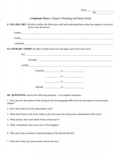 a separate peace study guide mcgraw hill answers